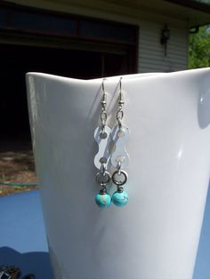 Turquoise blue earrings with white upcycled BMX chain link on Etsy, $15.00
