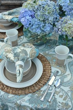 Modern Country Style and Mikasa Magnolia Dinnerware | homeiswheretheboatis.net #tablescape #hydrangeas