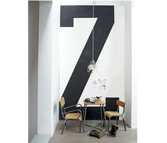 """Will have large """"3"""" on back wall of shop. Font is dependant on branding but like industrial"""