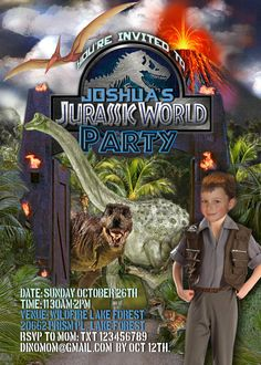 Jurassic World/Dinosaur Printable Party Invitation - with Photo