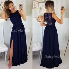 Check out my lovely items Split Prom Dresses, Navy Blue Bridesmaid Dresses, Wedding Bridesmaid Dresses, Navy Bridesmaids, Navy Blue Dresses, Mademoiselle, Applique Dress, Fall Dresses, Dream Dress