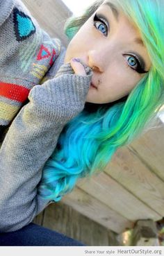 Shy is cute - Heart Our Style - alternative beautiful blue cool cute eyes girl green hair hairstyle piercing scene shy style