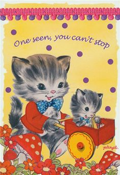 """""""One seen, you can't stop"""" Engrish, vintage Japanese art featuring cats"""
