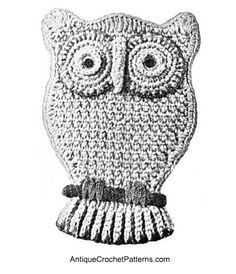 Owl Potholder Pattern - free pattern for crocheting a potholder that looks like an owl.