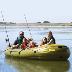 Airhead Watersports   ANGLER BAY 6 PERSON BOAT    They're lightweight, portable and ideal for lakes and slow moving streams. Equipped with wrap-around grab lines, swiveling oar locks, transom mounting fixtures and side mounted oar holders.
