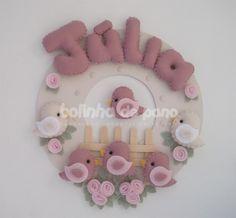 Enfeite Porta Maternidade Rosa Velho