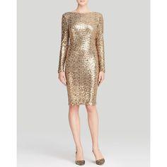 Badgley Mischka Dress - Sequin Drape Back