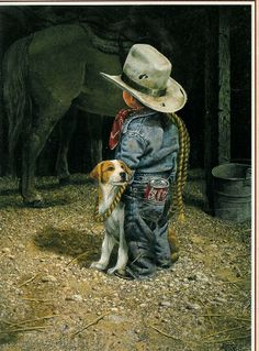 """""""Coca Cola Cowboy"""" ~ by Artist, Don Crook ~ ♥ :) Little Cowboy, Cowboy And Cowgirl, Cowboy Pictures, Cute Pictures, Cowboy Images, Pin Ups Vintage, Art Occidental, Real Cowboys, Rodeo Cowboys"""