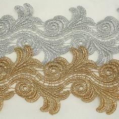 "3.8"" Metallic Rayon Embroidery Flower Lace Trim Metallic Bridal wedding Lace"