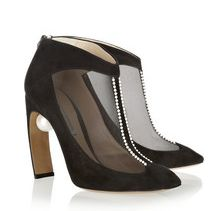 Embellished suede and mesh ankle boots by Nicholas Kirkwood.