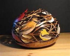 carved and painted gourd by Bonnie Gibson