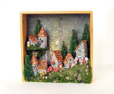 French Fairy Village on the Wall - Edition 9 - Seven Handmade Stone Country Houses with Summer Flowers, Pine Trees and Mushrooms