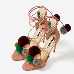 LEATHER HIGH HEEL SANDALS WITH POMPOMS-Sandals-SHOES-WOMAN | ZARA United States