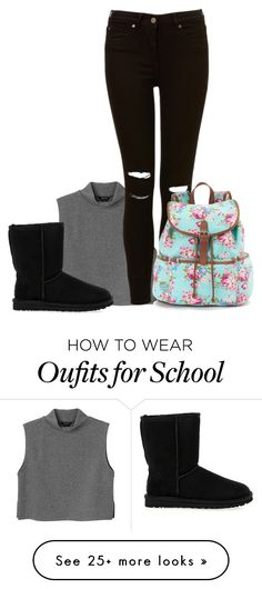 """""""School (Read Description)"""" by wweajfan4life on Polyvore featuring Monki, UGG Australia and Candie's"""