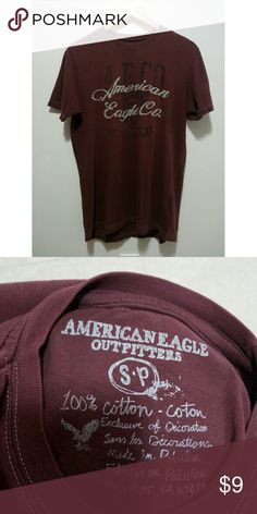American Eagle men's maroon shirt American Eagle Outfitters. Men's marron tee-shirt. Crew neck. 100% cotton.   Used good condition.  #mens #mensshirt #americaneagle American Eagle Outfitters Shirts Tees - Short Sleeve