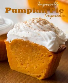 IMPOSSIBLE PUMPKIN PIE CUPCAKES - They taste just like pumpkin pie filling, but are sturdy enough to eat with your hands. You'll love these because they're not overly sweet, and they're pumpkin-y without being overpowering, plus the batter is crazy easy to make too. If you love pumpkin pie and are tired of waiting until Thanksgiving these cupcakes are the perfect way to get your fix, but they're also great to pack up and give as a Thanksgiving take-home gifts.