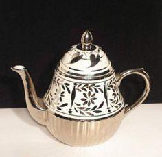 Arthur Wood England Teapot Silver Lustre Tea by beachcatsbargains, Etsy