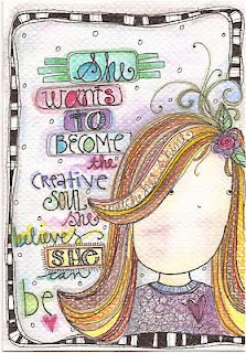 """""""She wants to become the creative soul she believes she can be."""" illustration by lindsay ostrom. sierra hennessy · art journal - quotes and phrases Art Journal Pages, Doodle Art Journals, Journal Quotes, Art Journaling, Smash Book, Art Anime, Creative Journal, Art Journal Inspiration, Journal Ideas"""