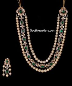 South Sea Pearls Necklace latest jewelry designs - Page 5 of 39 - Indian Jewellery Designs Beaded Jewelry Designs, Jewelry Design Earrings, Gold Jewellery Design, Bead Jewellery, Necklace Designs, Gold Jewelry, Diamond Jewellery, Pearl Jewelry Set, Temple Jewellery