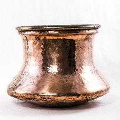 """Eighteenth century hand hammered copper pot. Ideal as a cachepot. 9.5"""" H X 12"""" Diameter"""