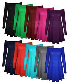 New Womens Ladies Long Sleeve Off Shoulder Swing Skater Mini Dress Top Plus Size