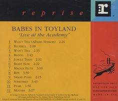Babes In Toyland Live At The Academy 1992 USA CD album PROCD5838: BABES IN TOYLAND Live At The Academy (Scare 1992 US 12-track promotional…