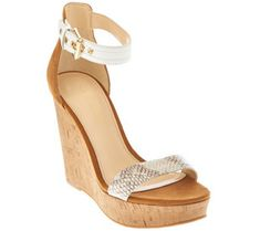 3baf03a358e Marc Fisher Suede Ankle Strap Cork Wedges - Heart - A275898 Marc Fisher  Boots
