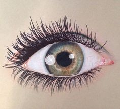 An eye drawing that I made a couple of months ago. Strathmore Toned Tan Paper Prismacolor Premier Colored Pencils White Gel Pen