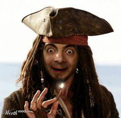 Mr. Bean as Capt. Jack Sparrow. (last one i promise)