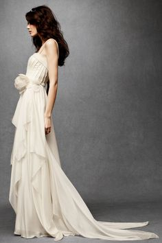 I accidentally deleted this pin, and had to go searching high and low for the gown.  Thank goodness I found it again! Ethereal, flowing wedding gown.