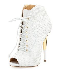 Giuseppe Zanotti Crocodile Embossed Lace Up Peep Toe Booties as seen on Jennifer Lopez