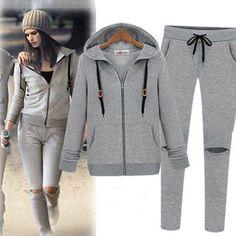 Women s 2pcs Suit Coat+ Hole Pants Zipper Sports Tracksuit Hoodies Sweatsuit 777b83eaf0811