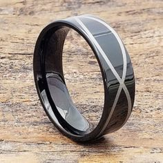 Krypton black tungsten carbide promise rings are available in a comfort fit width. Infinity symbol circles the ring in a silver laser engraving. Unique Diamond Rings, Unique Rings, Curved Wedding Band, Wedding Bands, Promise Rings For Couples, Rings For Men, Rings Pandora, Black Tungsten Rings, Infinity Rings