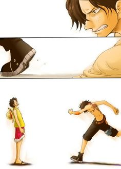 ONE PIECE ---Ace and Luffy // Ace always did everything within his power to keep Luffy safe. Even going as far as giving his own life! This gets to me every time!