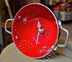 Red Colander Clock Repurposed Vintage Style by SnakeHeadVintage, $33.99