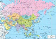 detailed clear large political map of asia showing capital cities states towns provinces and boundaries with neighbouring countries