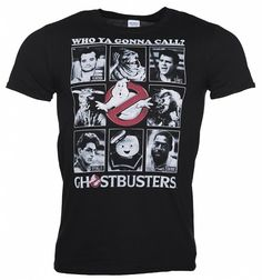 Men's Black Classic Photo Cards Ghostbusters T-Shirt