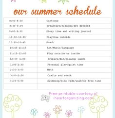 Summer Schedule for Kids - No Holding Back