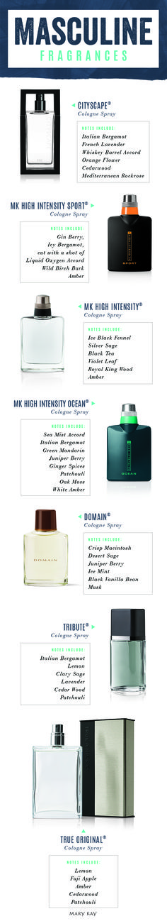 Gift the man in your life a cologne with a uniquely masculine scent that's just his style.   Mary Kay