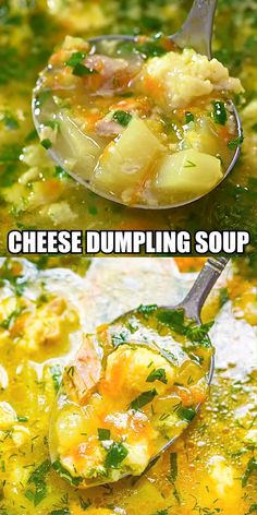 Indulge your cold weather cravings this season with a warm bowl of homemade Chicken and Cheese Dumpling Soup. Best Soup Recipes, Vegan Recipes Easy, Mexican Food Recipes, Chicken Recipes, Vegetarian Recipes, Cooking Recipes, Ethnic Recipes, Chicken Dumpling Soup, Hearty Chicken Soup