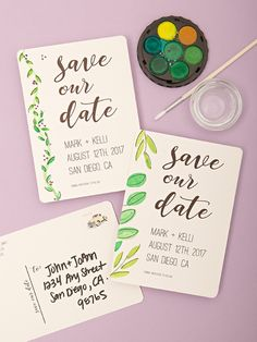 Download our file, edit to add your future wedding information, add a little watercolor detail to the side and send! No envelope needed for these postcards!