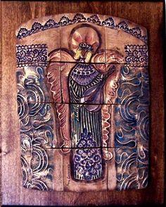 Byzantine Art - Angel with Guitar - By Ana Caravias