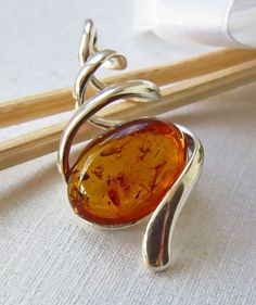 Amber Pendant Sterling Silver Amber Pendant by MistyMornDesigns