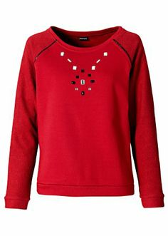 #red #sweater with #rhinestones from #bodyflirt