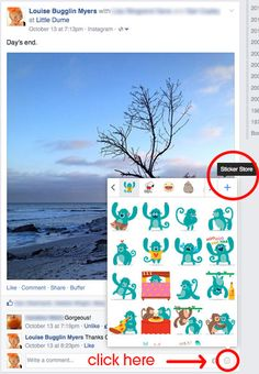 Seen the new stickers in #Facebook comments? They work on personal, group, and event posts. Not biz pages. What do you think of them?
