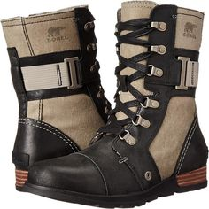 SOREL Major Carly (Wet Sand/Black) Women's Cold Weather Boots ($90) ❤ liked on Polyvore featuring shoes, boots, ankle boots, black, short boots, short black boots, lace up boots, short leather boots and sorel boots