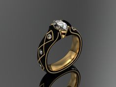 Zoltan David  Black Cobalt Chromium with 22K Gold Inlay and Insleeve Ring  Unique Wedding Ring Bridal