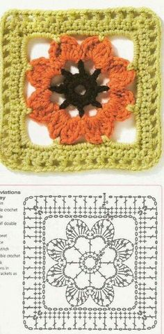 Transcendent Crochet a Solid Granny Square Ideas. Inconceivable Crochet a Solid Granny Square Ideas. Point Granny Au Crochet, Granny Square Crochet Pattern, Crochet Blocks, Crochet Diagram, Crochet Chart, Crochet Squares, Beau Crochet, Love Crochet, Beautiful Crochet