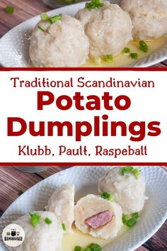 These Norwegian potato Klubb Dumplings are so tasty filling and a great way to celebrate Scandinavia. Whether it is a holiday tradition or a weeknight meal these pork-filled dumplings are worth the effort. Norwegian Cuisine, Norwegian Food, Norwegian Recipes, Appetizer Recipes, Dinner Recipes, Dinner Ideas, Appetizers, Dumpling Recipe, Food Recipes