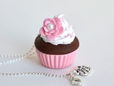 Pastel Pink Cupcake with Flower Necklace - Polymer Clay. $16.00, via Etsy.